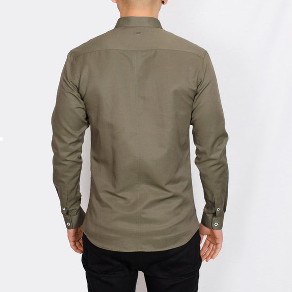 Plus Size Long Sleeve Shirt - SALAND - Khaki