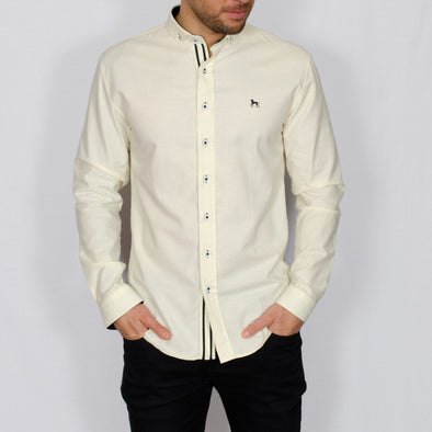 Slim Fit Oxford Long Sleeve Shirt - ALAND B - Lemon