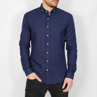 Slim Fit Oxford Long Sleeve Shirt - ALAND B - Navy