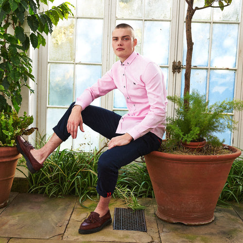 Slim Fit Oxford Long Sleeve Shirt – ALAND B - Pink