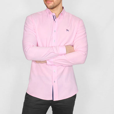 Slim Fit Oxford Long Sleeve Shirt - ALAND B - Pink