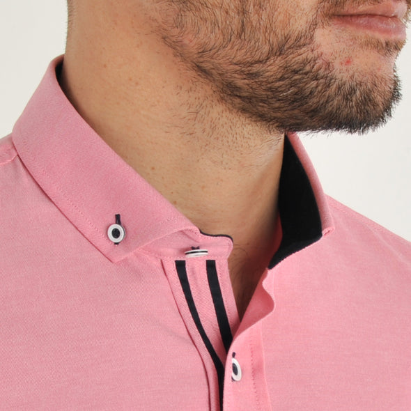 Slim Fit Oxford Long Sleeve Shirt - ALAND B - Rose Pink