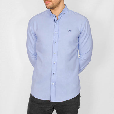 Slim Fit Oxford Long Sleeve Shirt - ALAND B - Sky