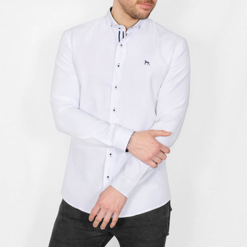 Slim Fit Oxford Long Sleeve Shirt - ALAND B - White