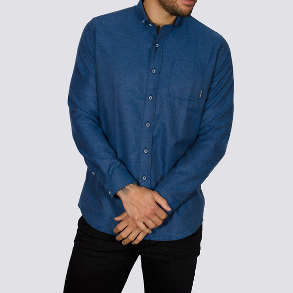 Slim Fit Brushed Flannel Long Sleeve Shirt - ALASKA - Blue