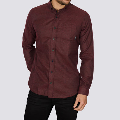 Slim Fit Brushed Flannel Long Sleeve Shirt - ALASKA - Burgundy