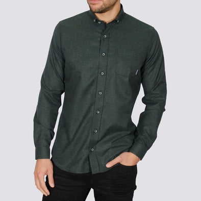Slim Fit Brushed Flannel Long Sleeve Shirt - ALASKA - Green