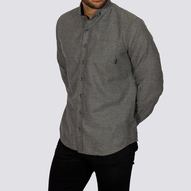 Slim Fit Brushed Flannel Long Sleeve Shirt - ALASKA - Grey