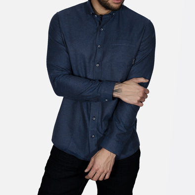 Slim Fit Brushed Flannel Long Sleeve Shirt - ALASKA - Navy