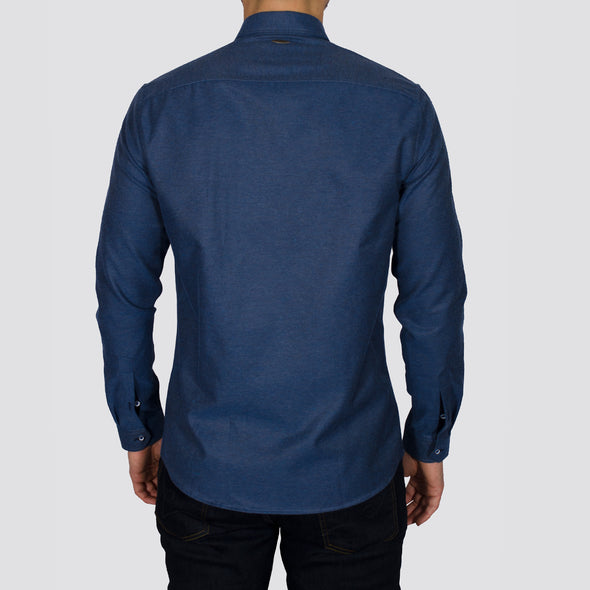 Slim Fit Brushed Flannel Long Sleeve Shirt - ALASKAB - Blue