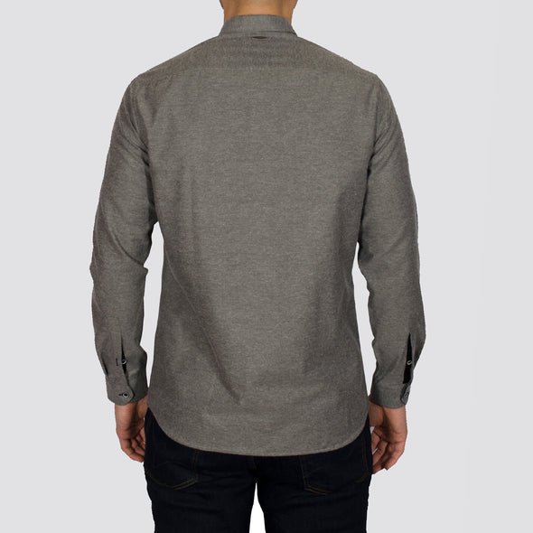 Slim Fit Brushed Flannel Long Sleeve Shirt - ALASKAB - Grey