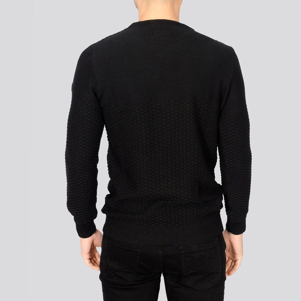Textured Crew Neck Jumper - ALPHA - Black