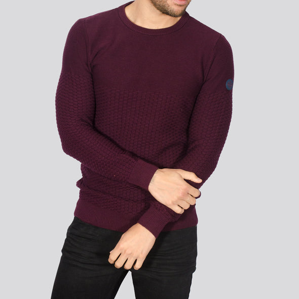 Textured Crew Neck Jumper - ALPHA - Burgundy