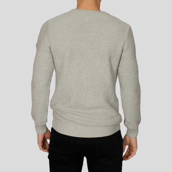 Textured Crew Neck Jumper - ALPHA - Grey