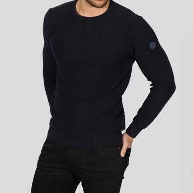 Textured Crew Neck Jumper - ALPHA - Navy