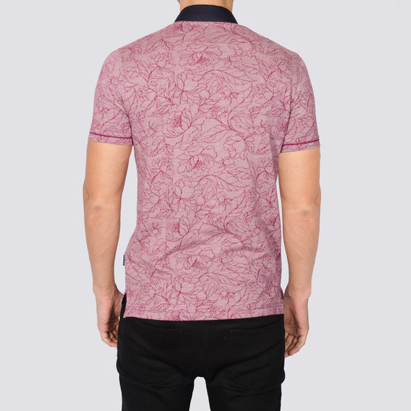 Floral Polo Shirt - AMID - Burgundy
