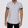 Slim Fit Patterned Short Sleeve Shirt - ASTRID - White