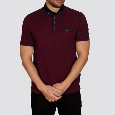 Patterned Jacquard Polo Shirt - ASTRO - Burgundy