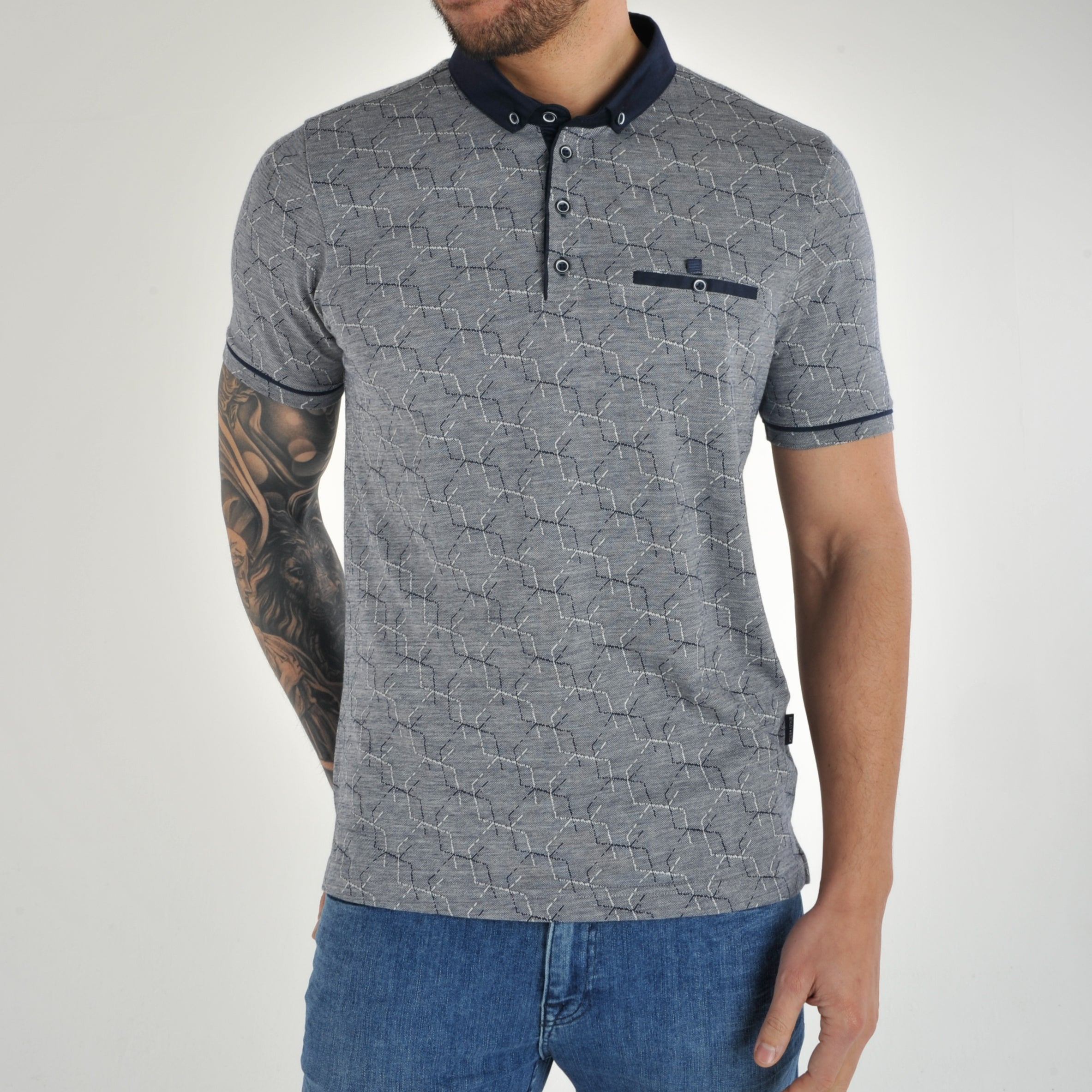 Bewley /& Ritch Astro Patterned Jacquard Polo Shirt-Green//Navy