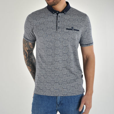 Patterned Jacquard Polo Shirt - ASTRO - Navy