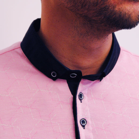 Patterned Jacquard Polo Shirt - ASTRO - Pink
