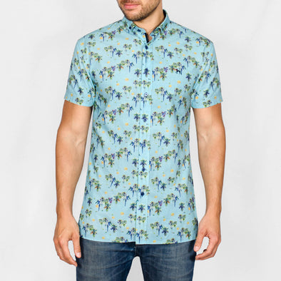 Slim Fit Hawaiian Short Sleeve Shirt - BILION - Turquoise