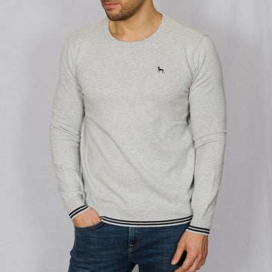 Knitted Crew Neck Sweater - BLADE - Grey Marl