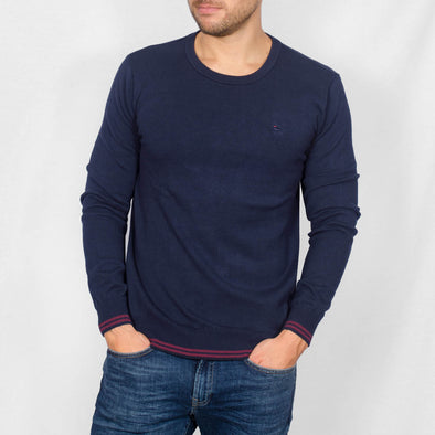 Knitted Crew Neck Sweater - BLADE - Navy