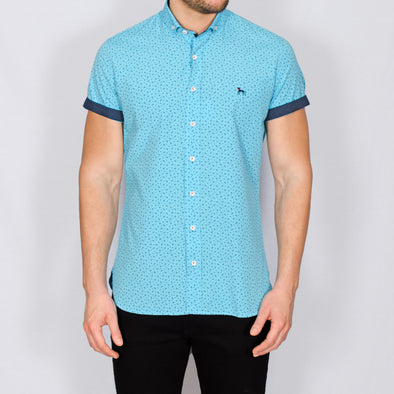 Slim Fit Paisley Short Sleeve Shirt - BLANCA - Turquoise
