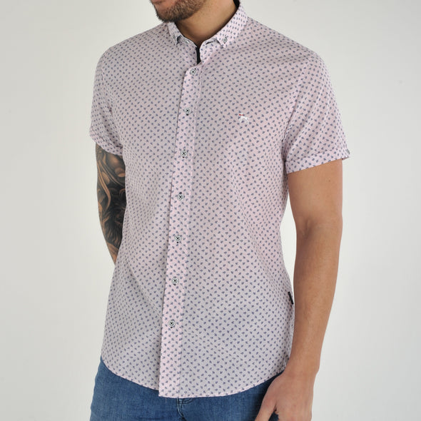 Slim Fit Ditsy Floral Short Sleeve Shirt - BLOON - White
