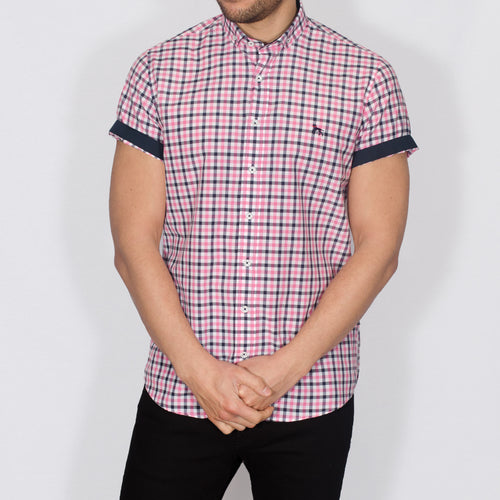 Slim Fit Check Short Sleeve Shirt - BOBO - Pink