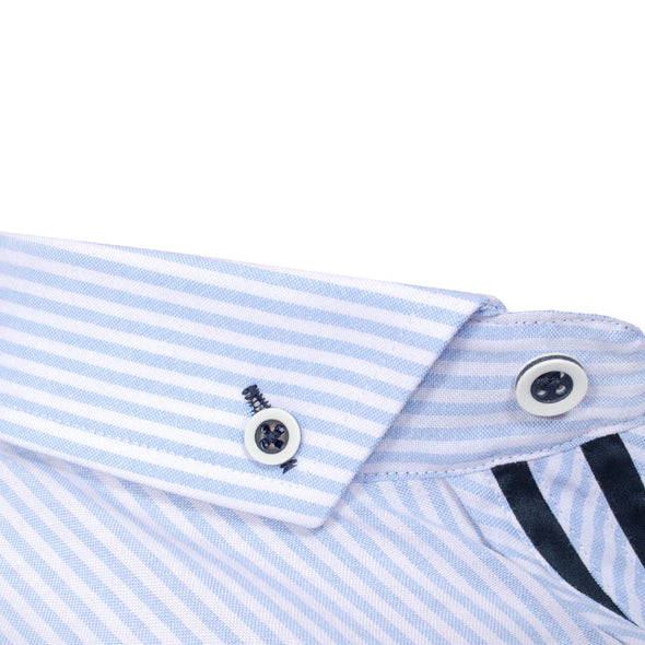 Slim Fit Stripe Long Sleeve Shirt - BODD - White
