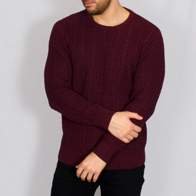 Cable Knit Jumper - BOLTON - Burgundy