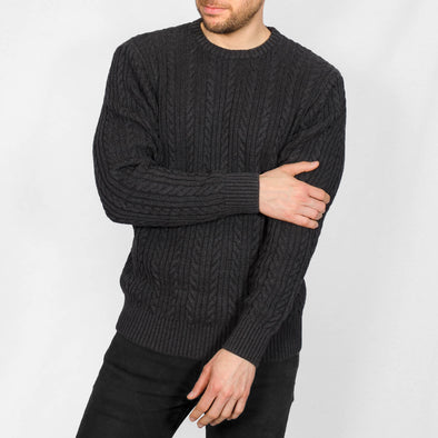 Cable Knit Jumper - BOLTON - Charcoal