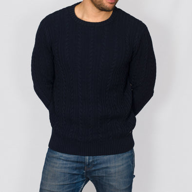 Cable Knit Jumper - BOLTON - Navy