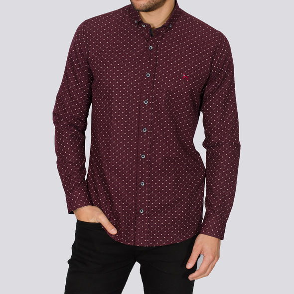 Slim Fit Geo Print Long Sleeve Shirt - BUL - Burgundy