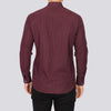 Plus Size Geo Print Long Sleeve Shirt - TBUL - Burgundy