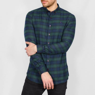 Slim Fit Check Long Sleeve Shirt - BWATCH - Green