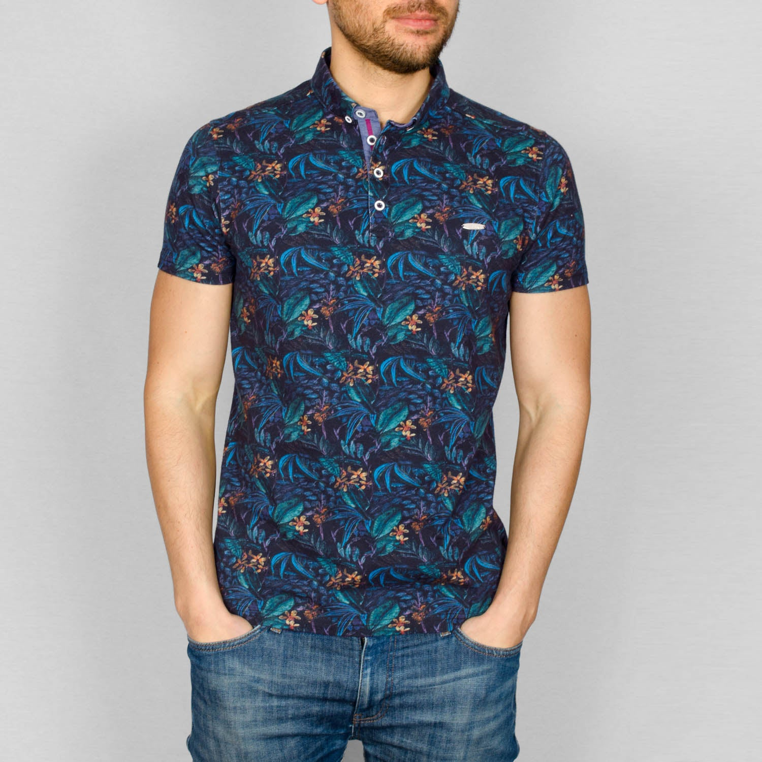 a62b5078 Men's Polo Shirt - Dark Tropical Print - Careon – Bewley & Ritch