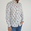 Slim Fit Scooter Print Long Sleeve Shirt - CETUS - White