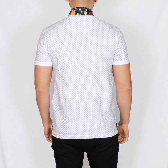 Contrast Collar Polo Shirt - DANNY - White