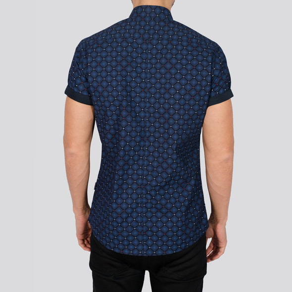 Slim Fit Geo Print Short Sleeve Shirt - DELAH - Navy