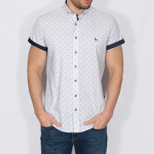 Slim Fit Geo Print Short Sleeve Shirt - DELAH - White
