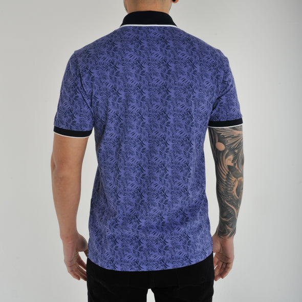 Cotton Leaf Print Polo Shirt - DENVA - Blue