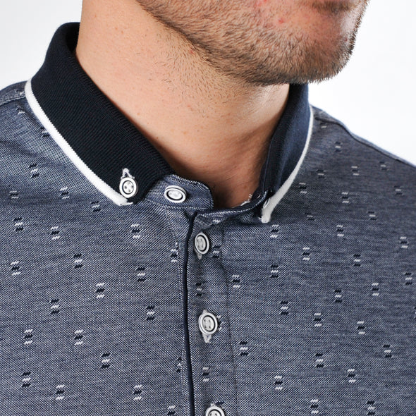 Jacquard Polo Shirt - DINA - Midnight