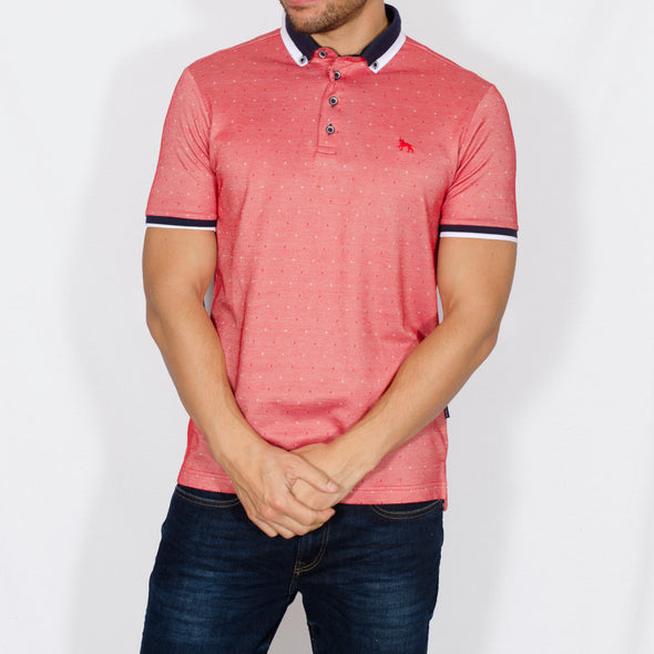 Jacquard Polo Shirt - DONNA - Red