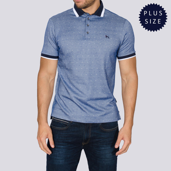 Plus Size Jacquard Polo Shirt - DONNAT - Navy
