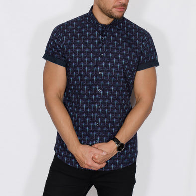 Slim Fit Dragonfly Short Sleeve Shirt - DRAGON - Navy