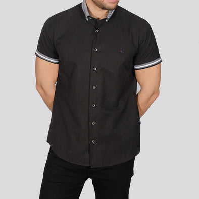 Slim Fit Short Sleeve Shirt with Knitted Collar - DWAYNE - Black