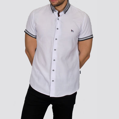 Slim Fit Short Sleeve Shirt with Knitted Collar - DWAYNE - White